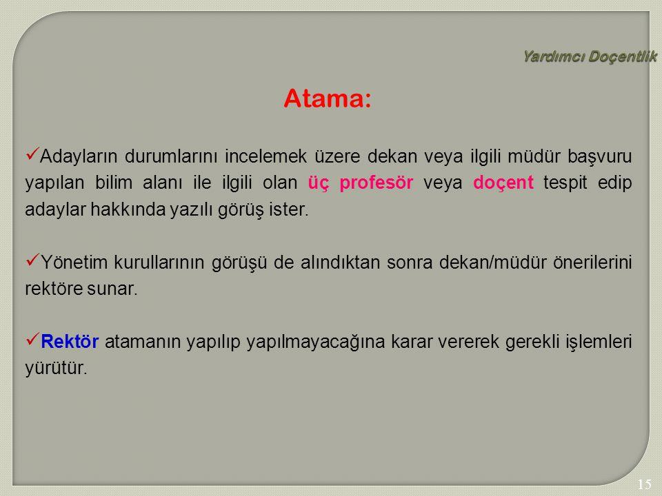 Yardımcı Doçentlik Atama: