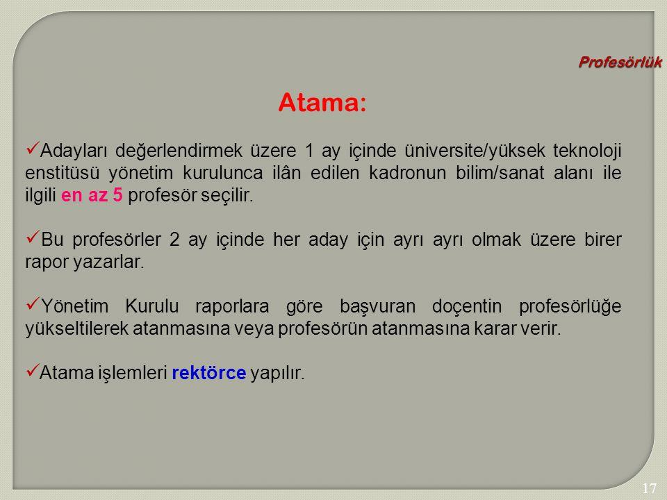 Profesörlük Atama: