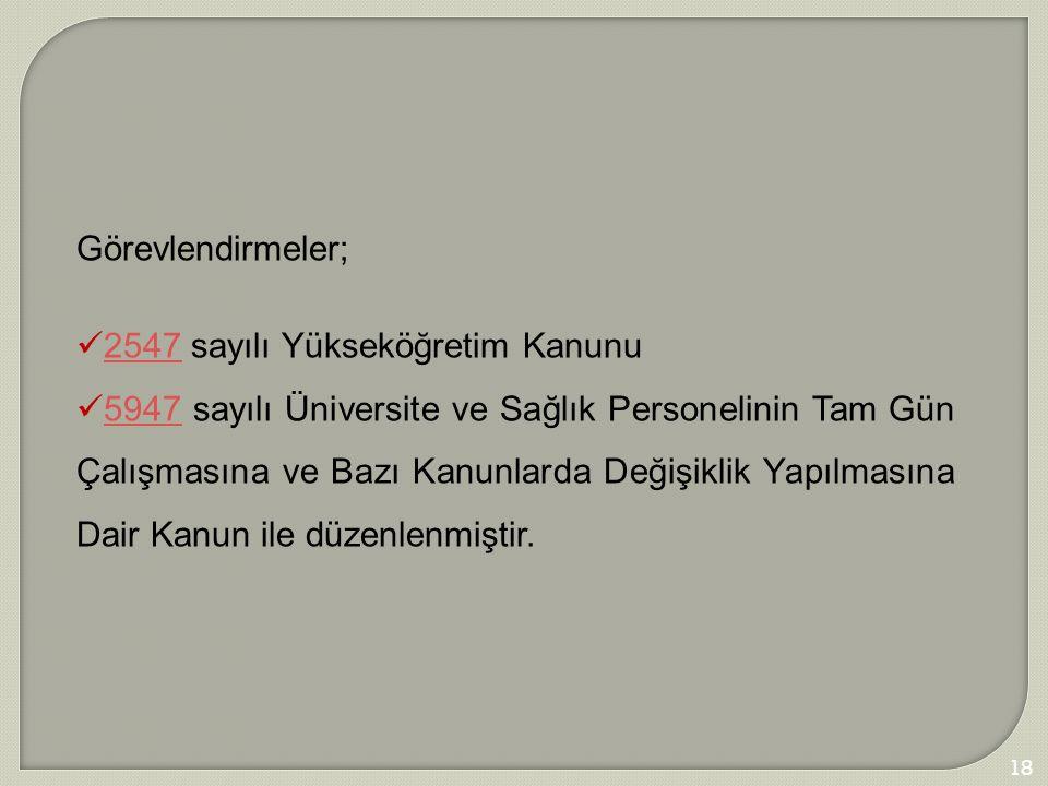 Görevlendirmeler; 2547 sayılı Yükseköğretim Kanunu.