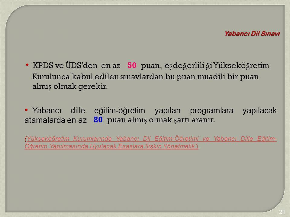 Yabancı Dil Sınavı KPDS ve ÜDS'den en az 50 puan,