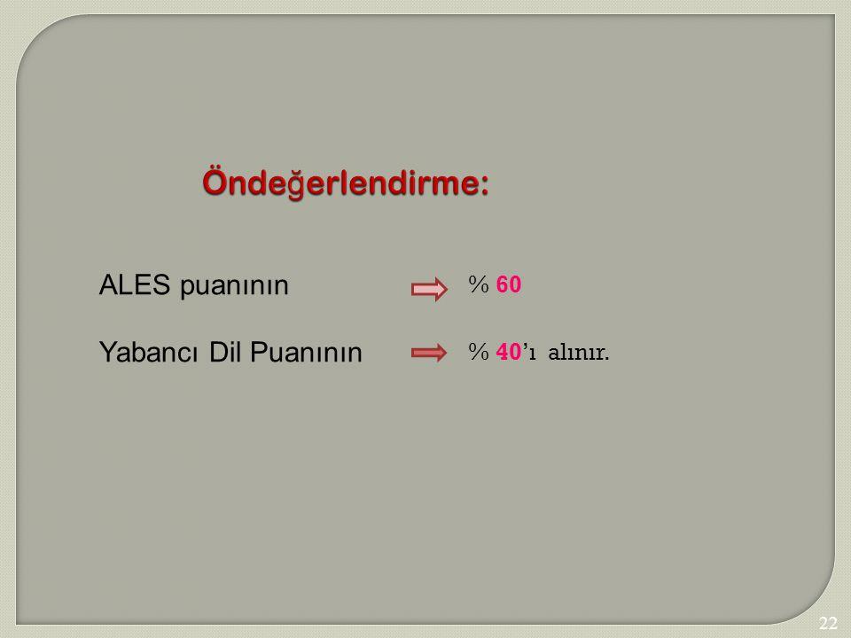 Öndeğerlendirme: ALES puanının Yabancı Dil Puanının % 60 % 40'ı