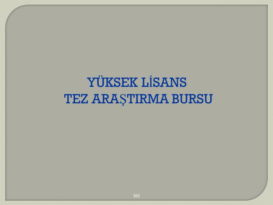 YÜKSEK LİSANS TEZ ARAŞTIRMA BURSU 302