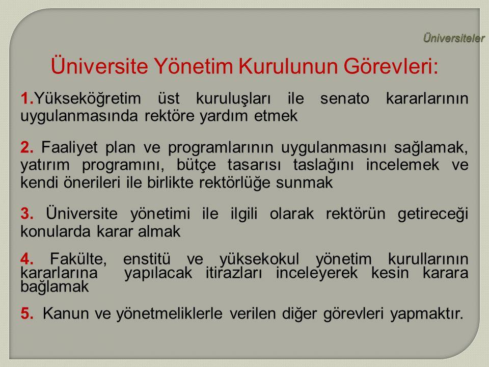 Üniversite Yönetim Kurulunun Görevleri: