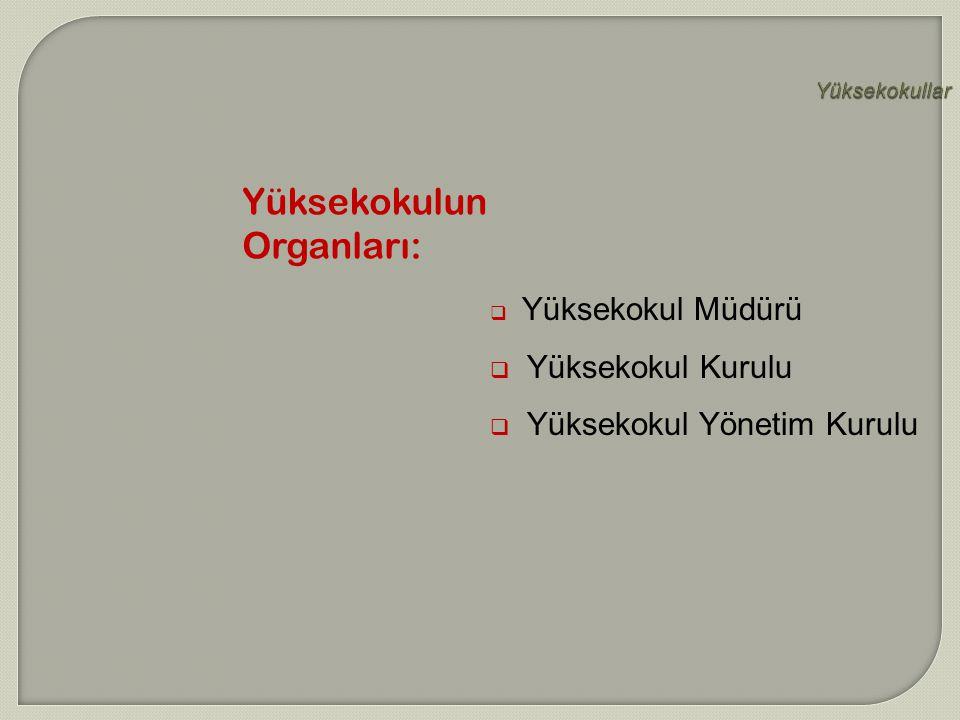 Yüksekokulun Organları: