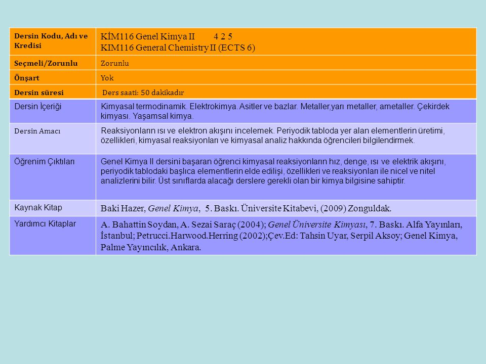 Dersin Künyesi KİM116 Genel Kimya II 4 2 5