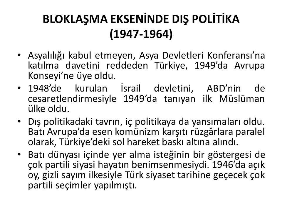 BLOKLAŞMA EKSENİNDE DIŞ POLİTİKA (1947-1964)