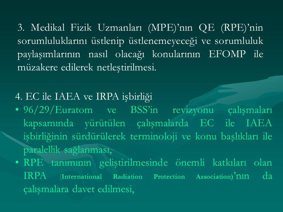 3. Medikal Fizik Uzmanları (MPE)'nın QE (RPE)'nin sorumluluklarını üstlenip üstlenemeyeceği ve sorumluluk paylaşımlarının nasıl olacağı konularının EFOMP ile müzakere edilerek netleştirilmesi.