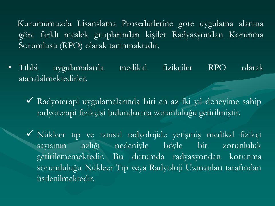 Kurumumuzda Lisanslama Prosedürlerine göre uygulama alanına göre farklı meslek gruplarından kişiler Radyasyondan Korunma Sorumlusu (RPO) olarak tanınmaktadır.