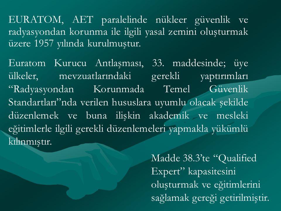 EURATOM, AET paralelinde nükleer güvenlik ve radyasyondan korunma ile ilgili yasal zemini oluşturmak üzere 1957 yılında kurulmuştur.