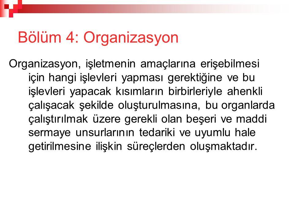 Bölüm 4: Organizasyon