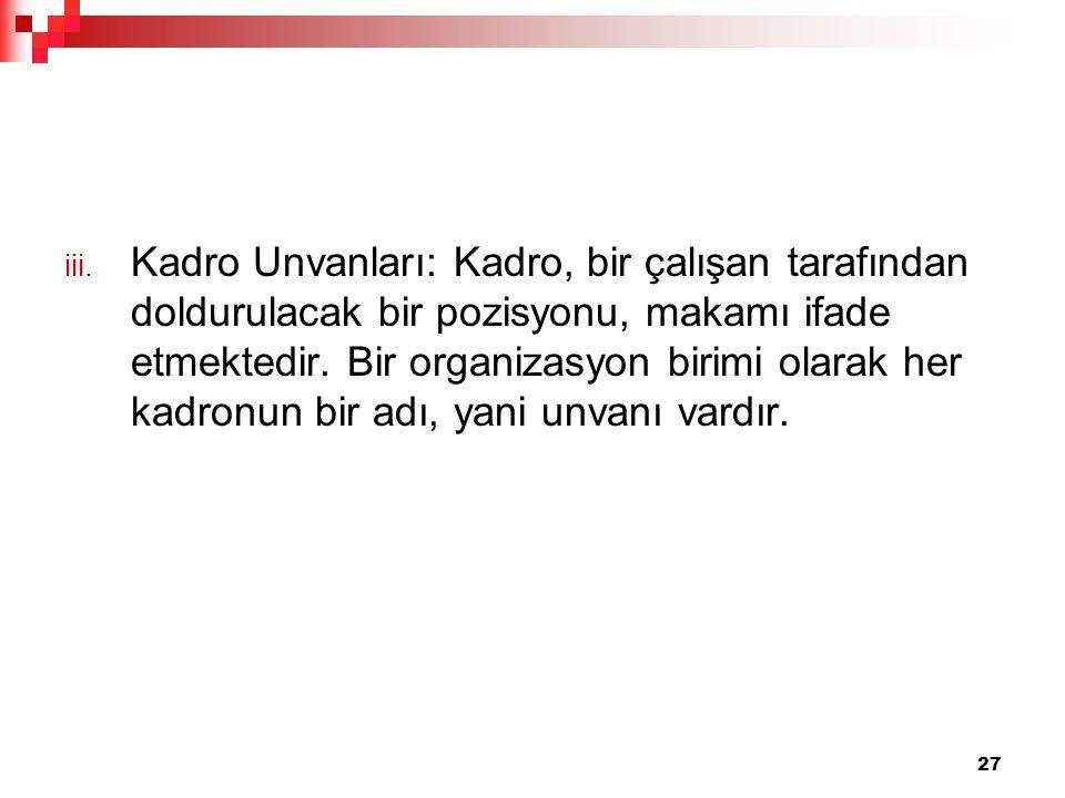 Kadro Unvanları: Kadro, bir çalışan tarafından doldurulacak bir pozisyonu, makamı ifade etmektedir.