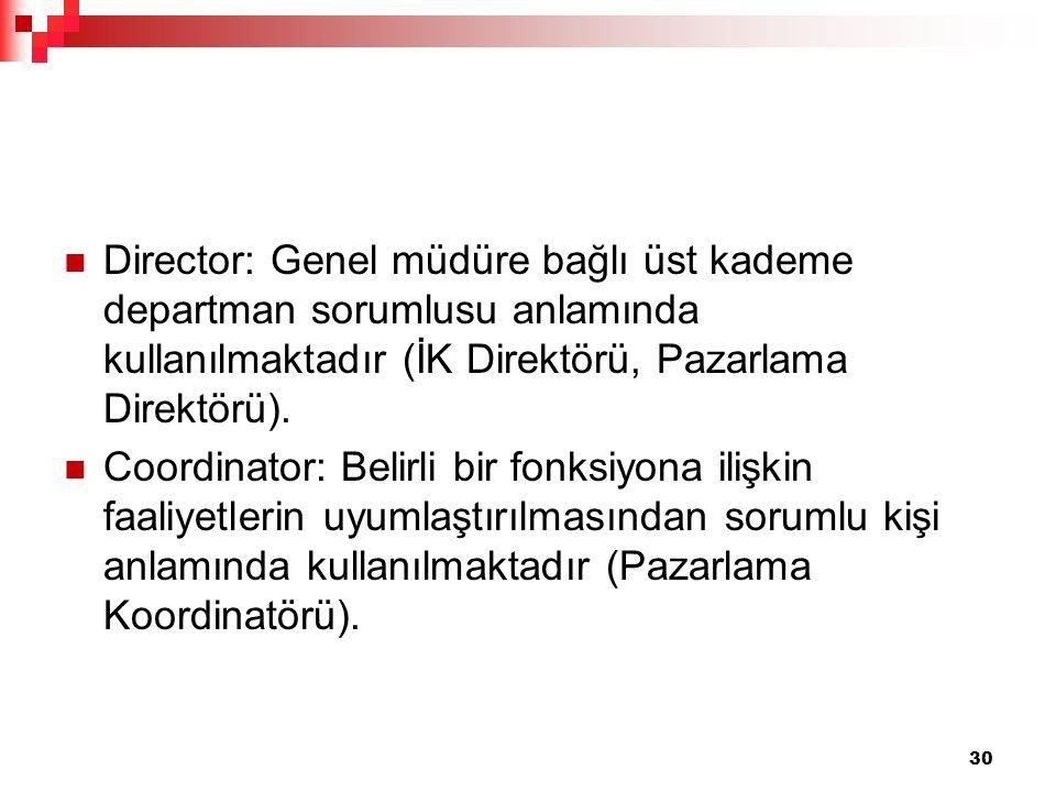 Director: Genel müdüre bağlı üst kademe departman sorumlusu anlamında kullanılmaktadır (İK Direktörü, Pazarlama Direktörü).