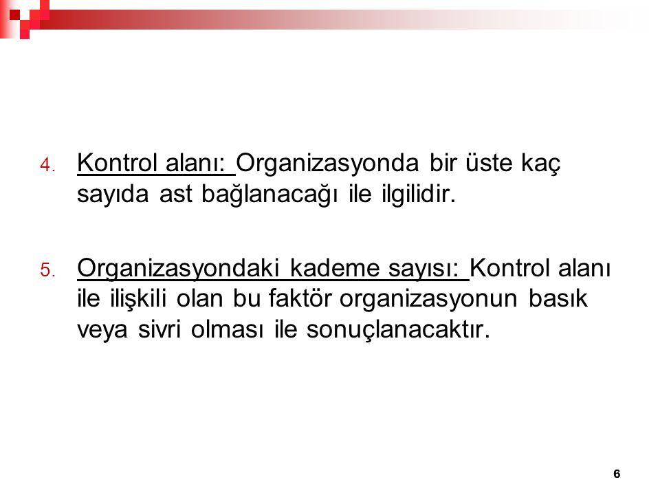 Kontrol alanı: Organizasyonda bir üste kaç sayıda ast bağlanacağı ile ilgilidir.