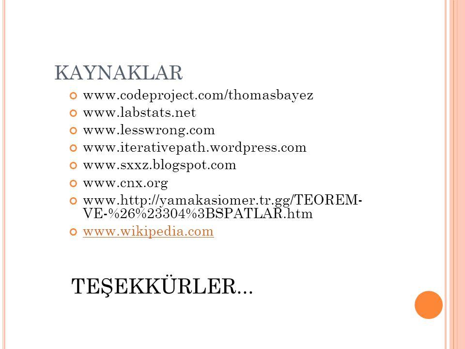 TEŞEKKÜRLER... KAYNAKLAR www.codeproject.com/thomasbayez