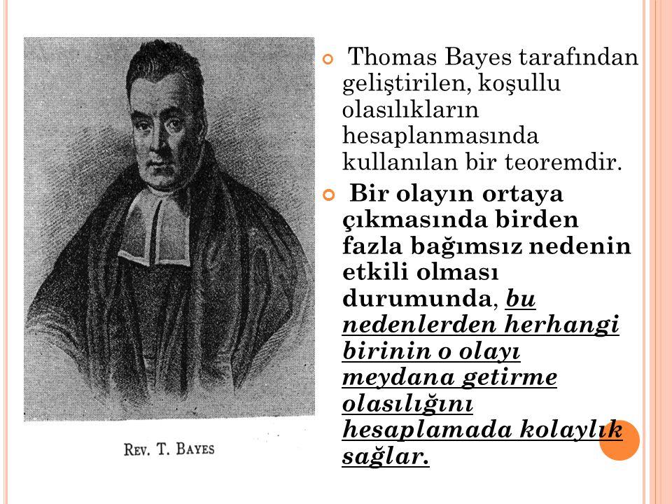 Thomas Bayes tarafından geliştirilen, koşullu olasılıkların hesaplanmasında kullanılan bir teoremdir.