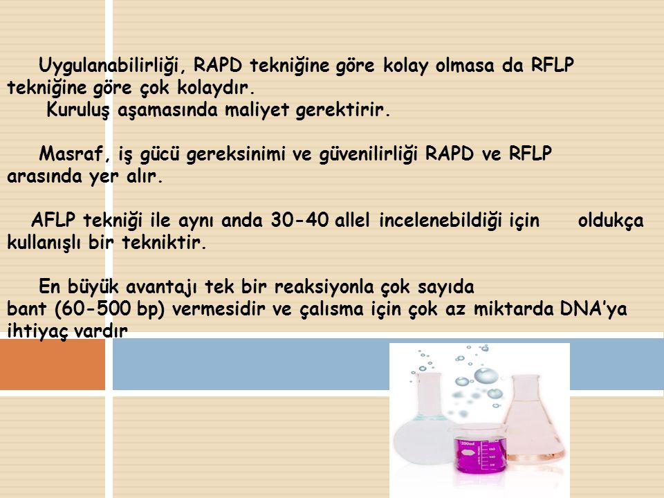 Uygulanabilirliği, RAPD tekniğine göre kolay olmasa da RFLP tekniğine göre çok kolaydır.
