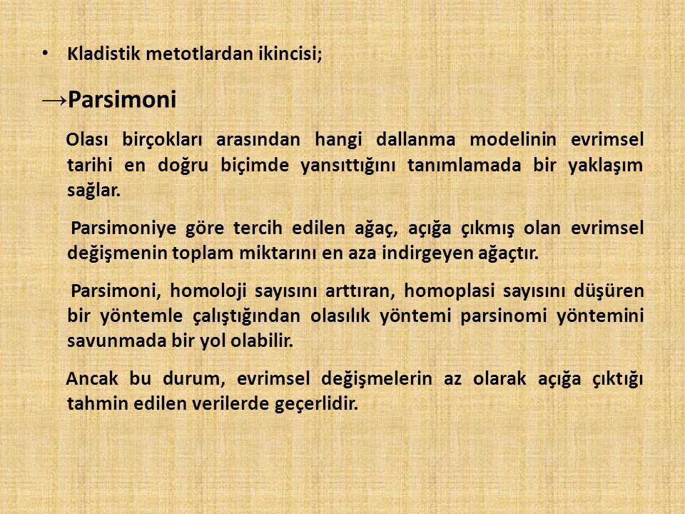 Parsimoni Kladistik metotlardan ikincisi;