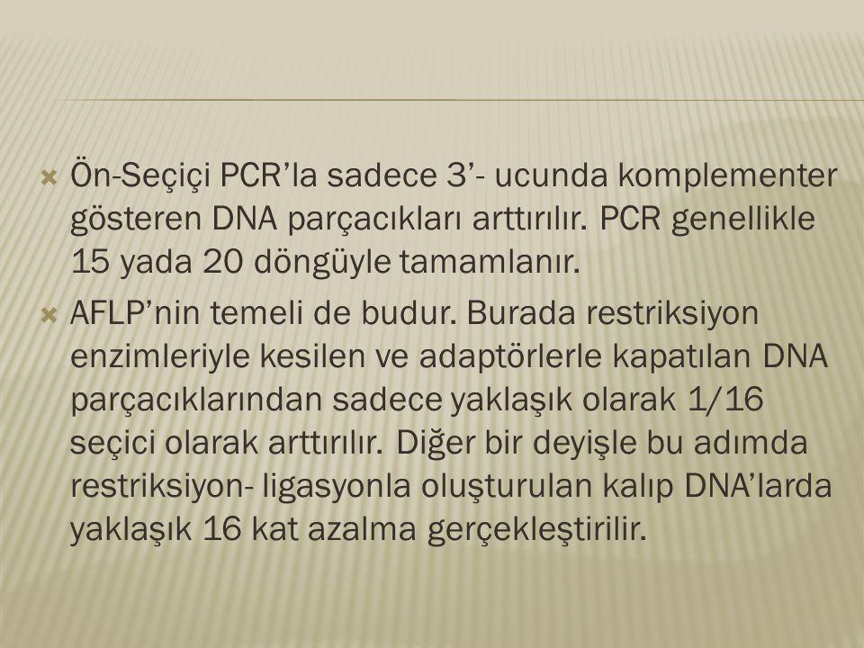 Ön-Seçiçi PCR'la sadece 3'- ucunda komplementer gösteren DNA parçacıkları arttırılır. PCR genellikle 15 yada 20 döngüyle tamamlanır.