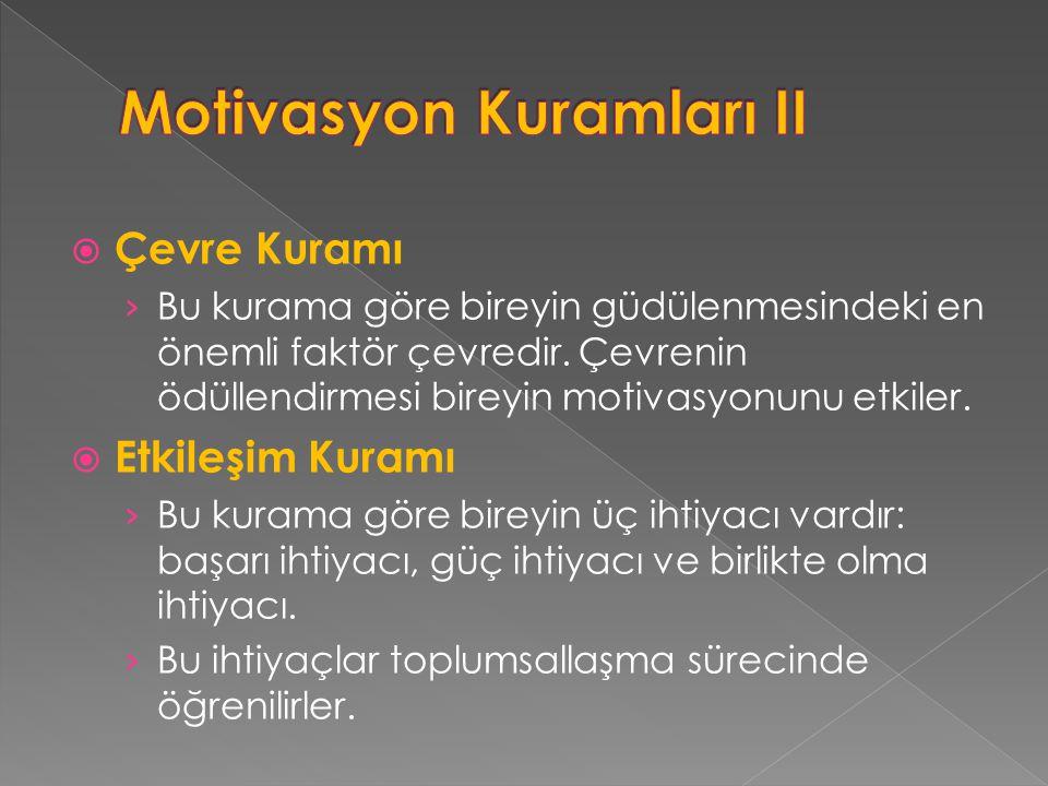 Motivasyon Kuramları II