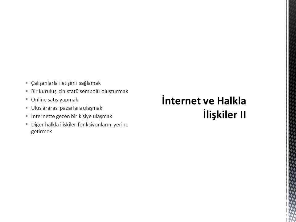 İnternet ve Halkla İlişkiler II