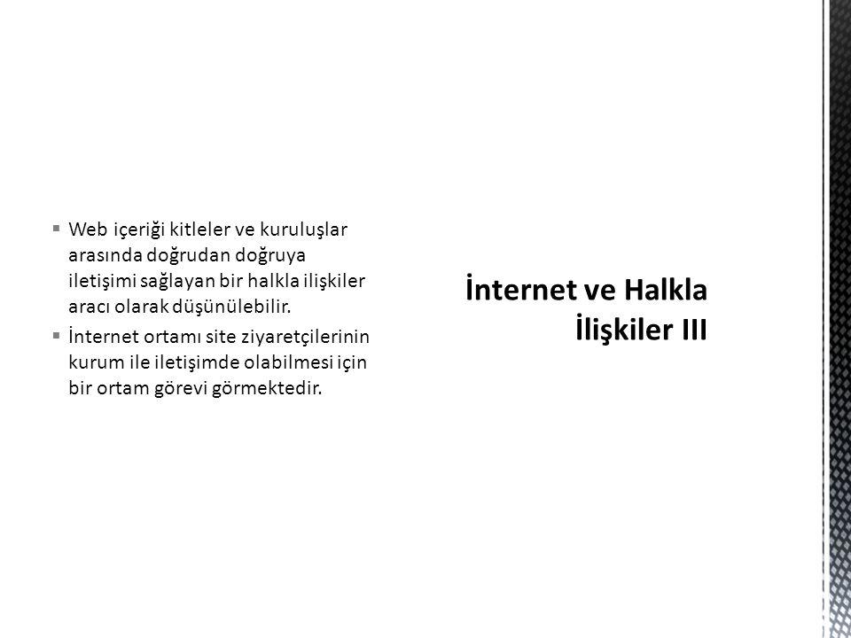İnternet ve Halkla İlişkiler III