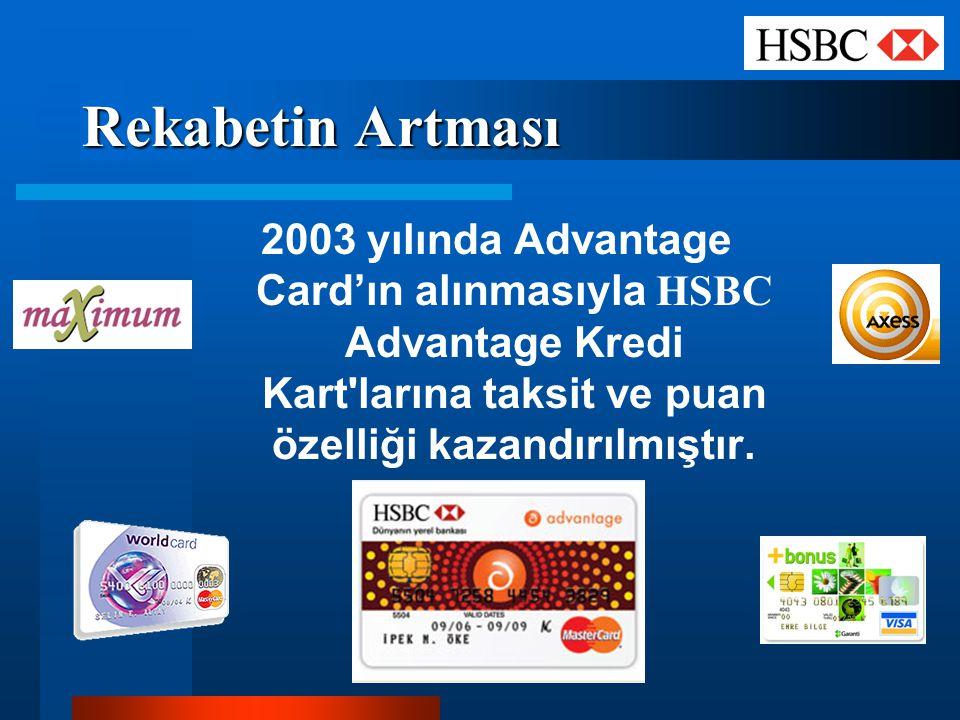 Rekabetin Artması 2003 yılında Advantage Card'ın alınmasıyla HSBC Advantage Kredi Kart larına taksit ve puan özelliği kazandırılmıştır.