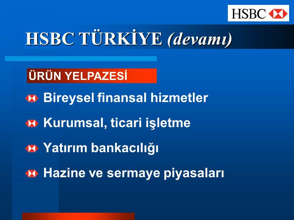 HSBC TÜRKİYE (devamı) Bireysel finansal hizmetler