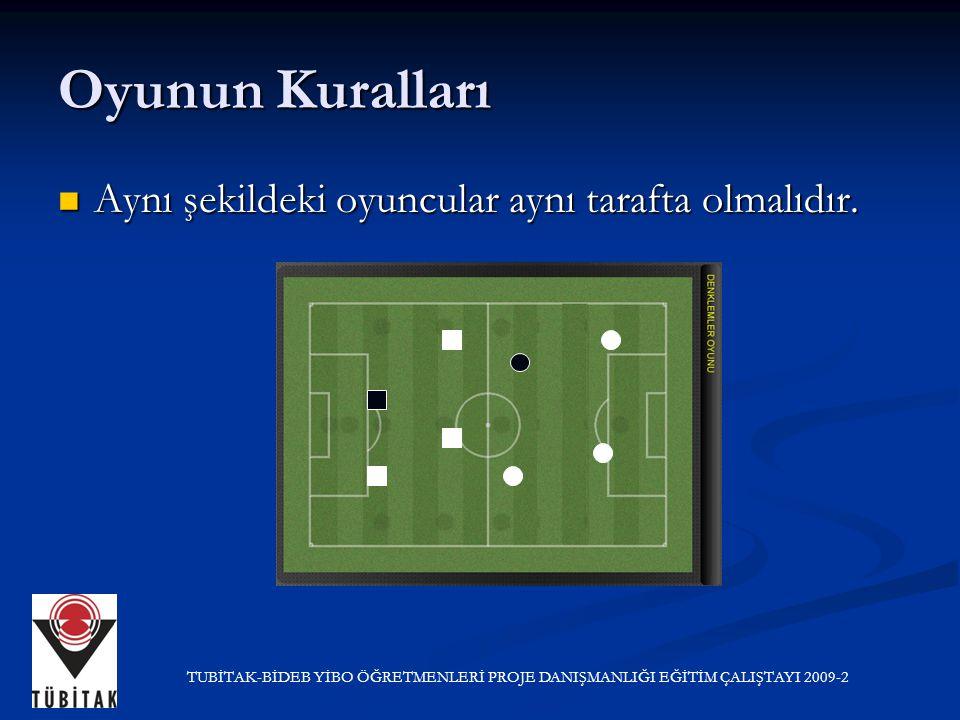 Oyunun Kuralları Aynı şekildeki oyuncular aynı tarafta olmalıdır.