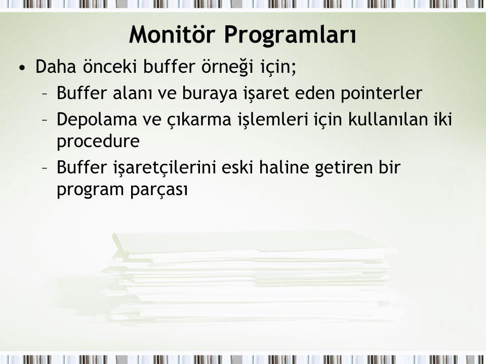 Monitör Programları Daha önceki buffer örneği için;