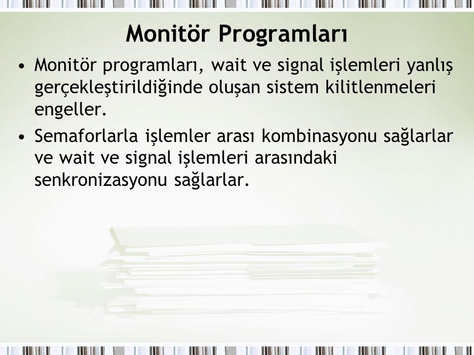Monitör Programları Monitör programları, wait ve signal işlemleri yanlış gerçekleştirildiğinde oluşan sistem kilitlenmeleri engeller.
