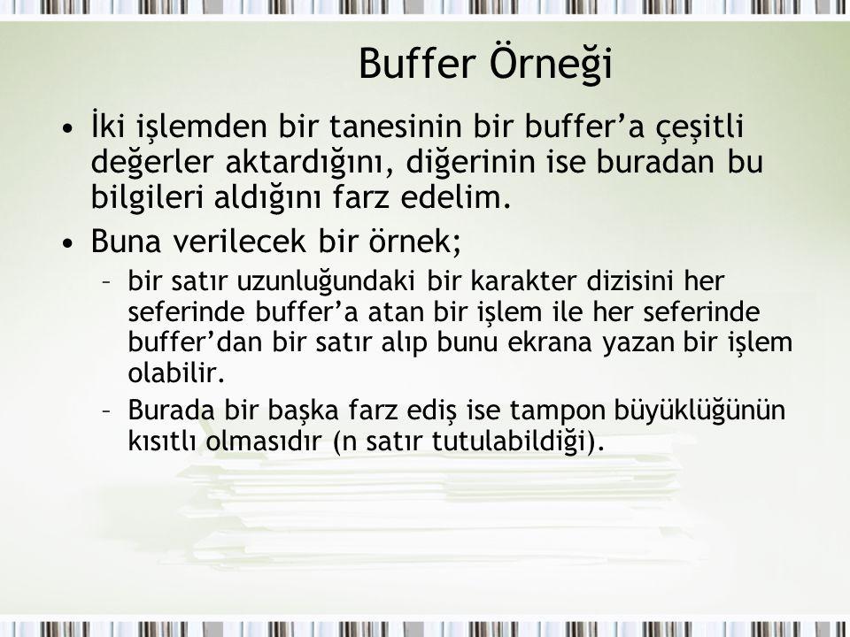 Buffer Örneği İki işlemden bir tanesinin bir buffer'a çeşitli değerler aktardığını, diğerinin ise buradan bu bilgileri aldığını farz edelim.