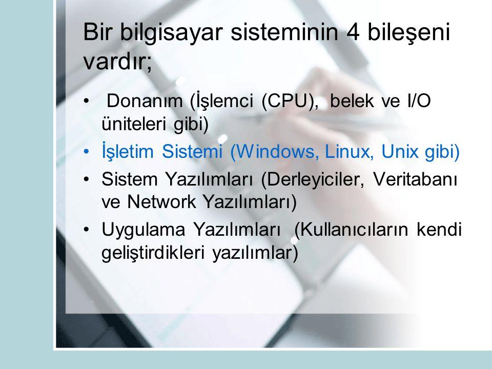 Bir bilgisayar sisteminin 4 bileşeni vardır;