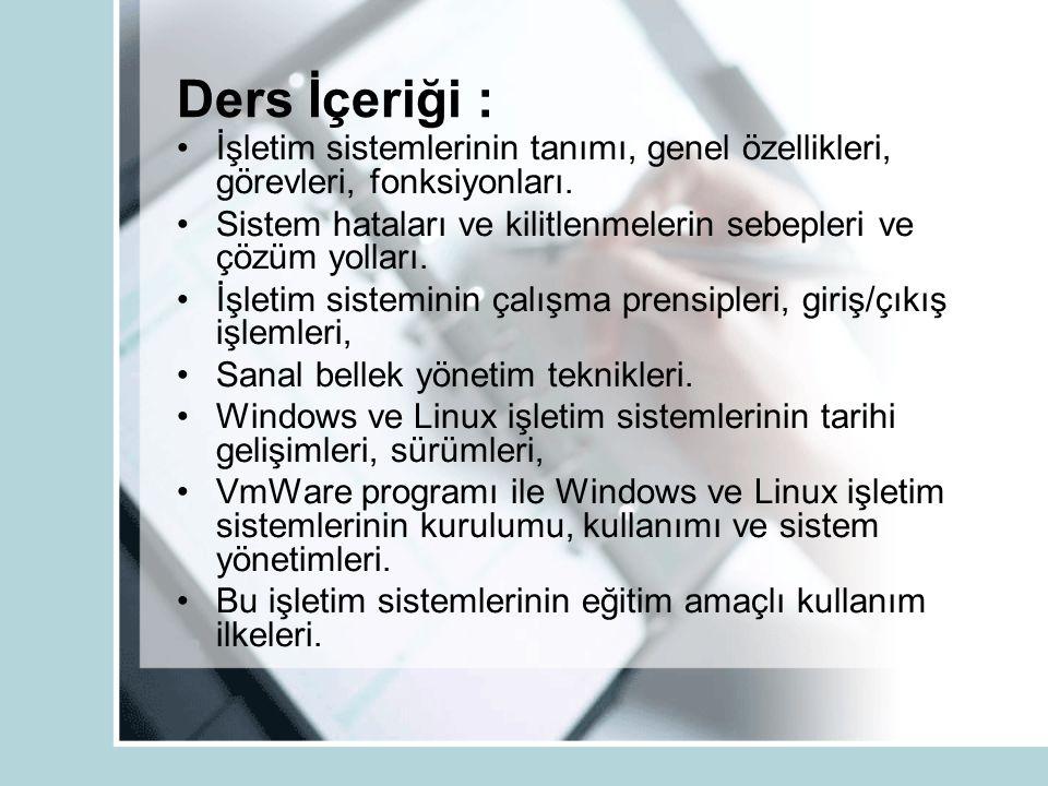 Ders İçeriği : İşletim sistemlerinin tanımı, genel özellikleri, görevleri, fonksiyonları.