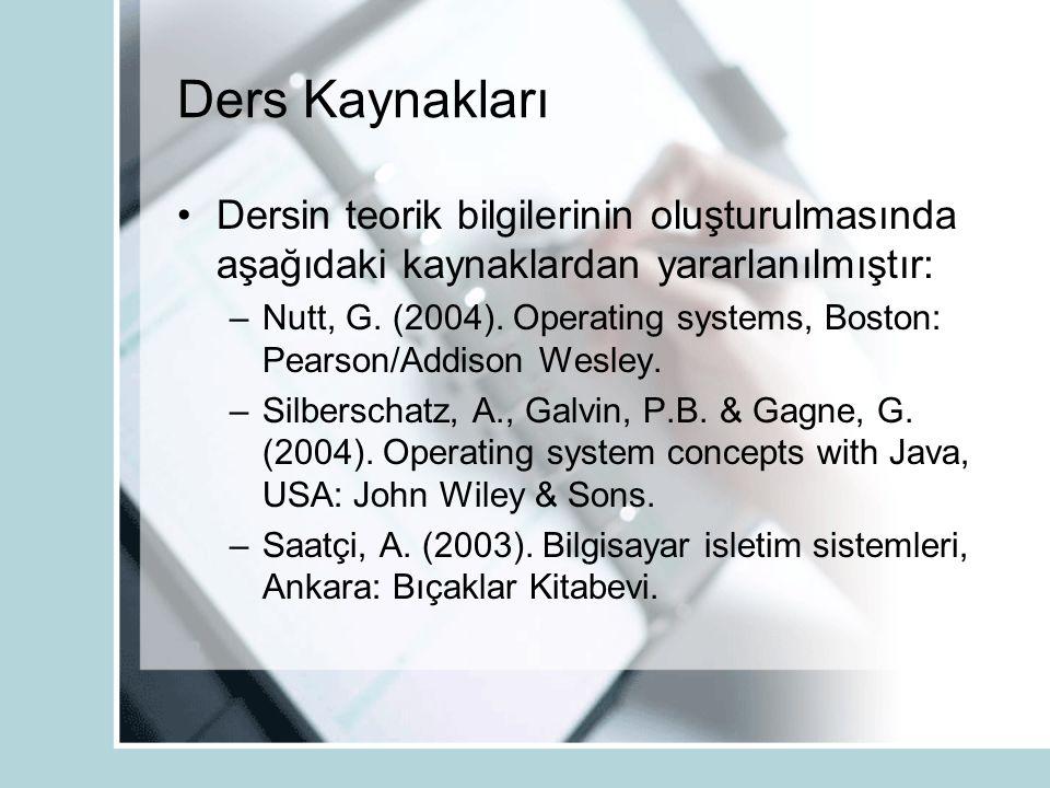 Ders Kaynakları Dersin teorik bilgilerinin oluşturulmasında aşağıdaki kaynaklardan yararlanılmıştır: