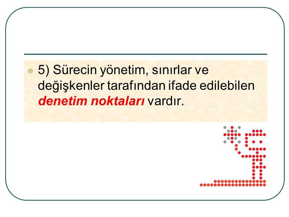 5) Sürecin yönetim, sınırlar ve değişkenler tarafından ifade edilebilen denetim noktaları vardır.