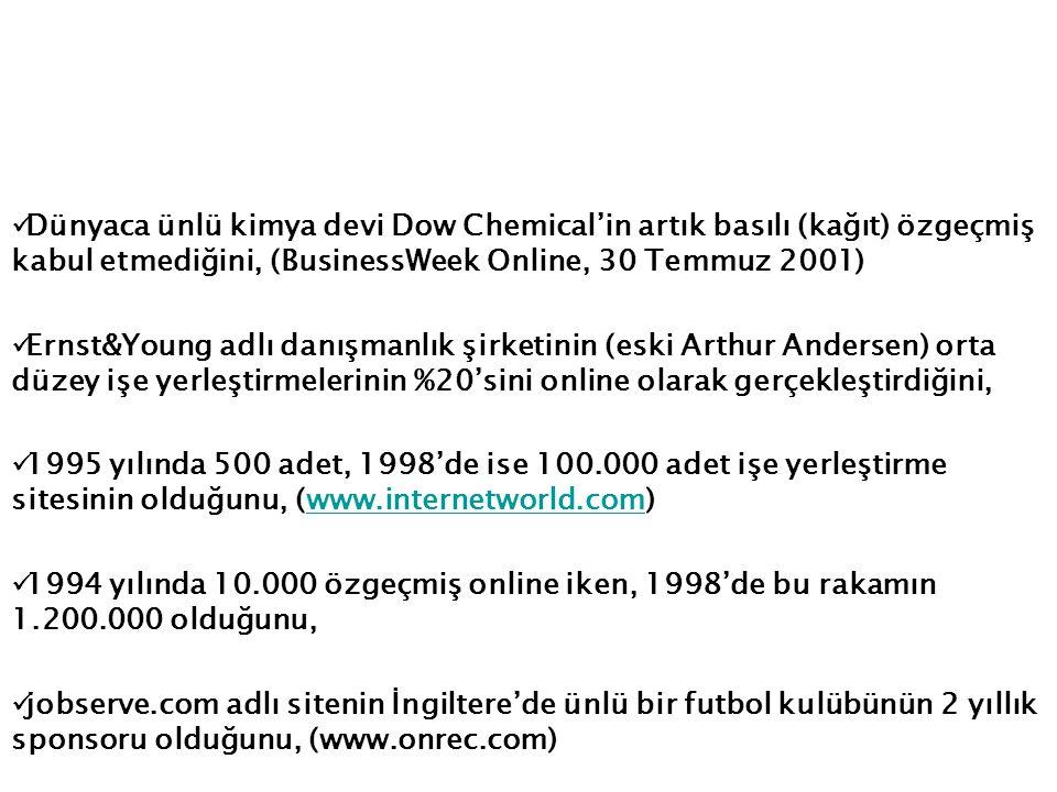Dünyaca ünlü kimya devi Dow Chemical'in artık basılı (kağıt) özgeçmiş kabul etmediğini, (BusinessWeek Online, 30 Temmuz 2001)