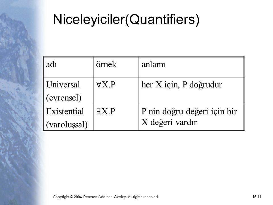 Niceleyiciler(Quantifiers)