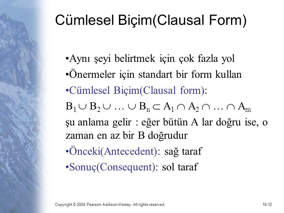 Cümlesel Biçim(Clausal Form)