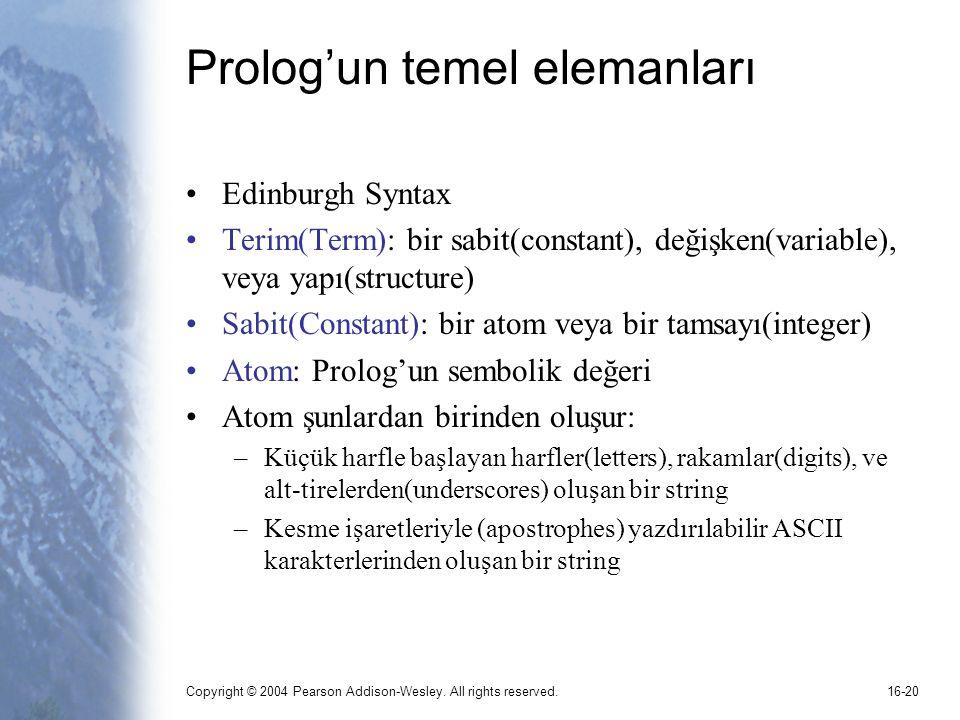 Prolog'un temel elemanları
