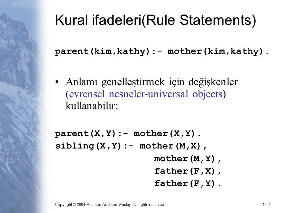 Kural ifadeleri(Rule Statements)