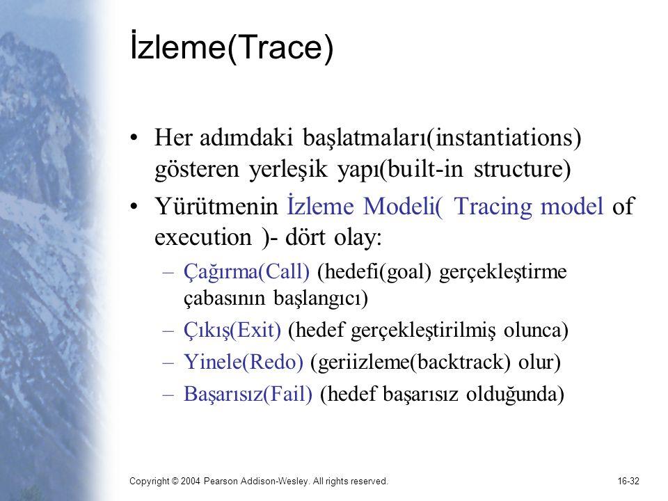İzleme(Trace) Her adımdaki başlatmaları(instantiations) gösteren yerleşik yapı(built-in structure)