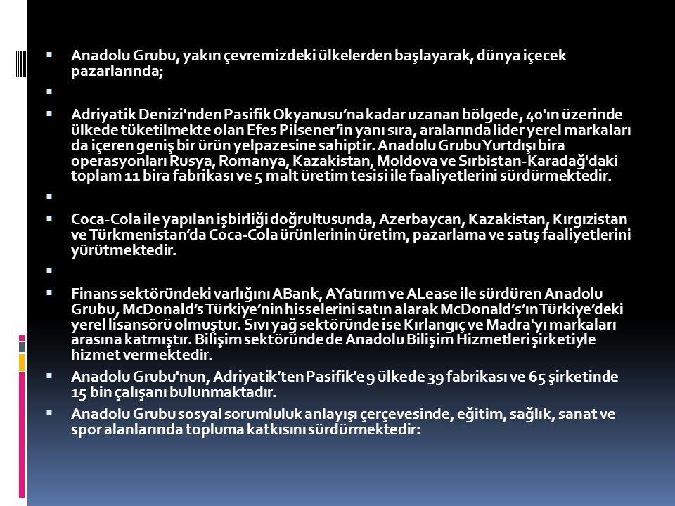 Anadolu Grubu, yakın çevremizdeki ülkelerden başlayarak, dünya içecek pazarlarında;