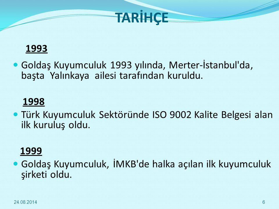 TARİHÇE 1993. Goldaş Kuyumculuk 1993 yılında, Merter-İstanbul da, başta Yalınkaya ailesi tarafından kuruldu.