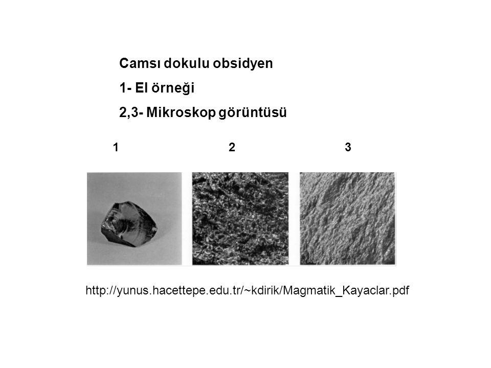 Camsı dokulu obsidyen 1- El örneği 2,3- Mikroskop görüntüsü 1 2 3