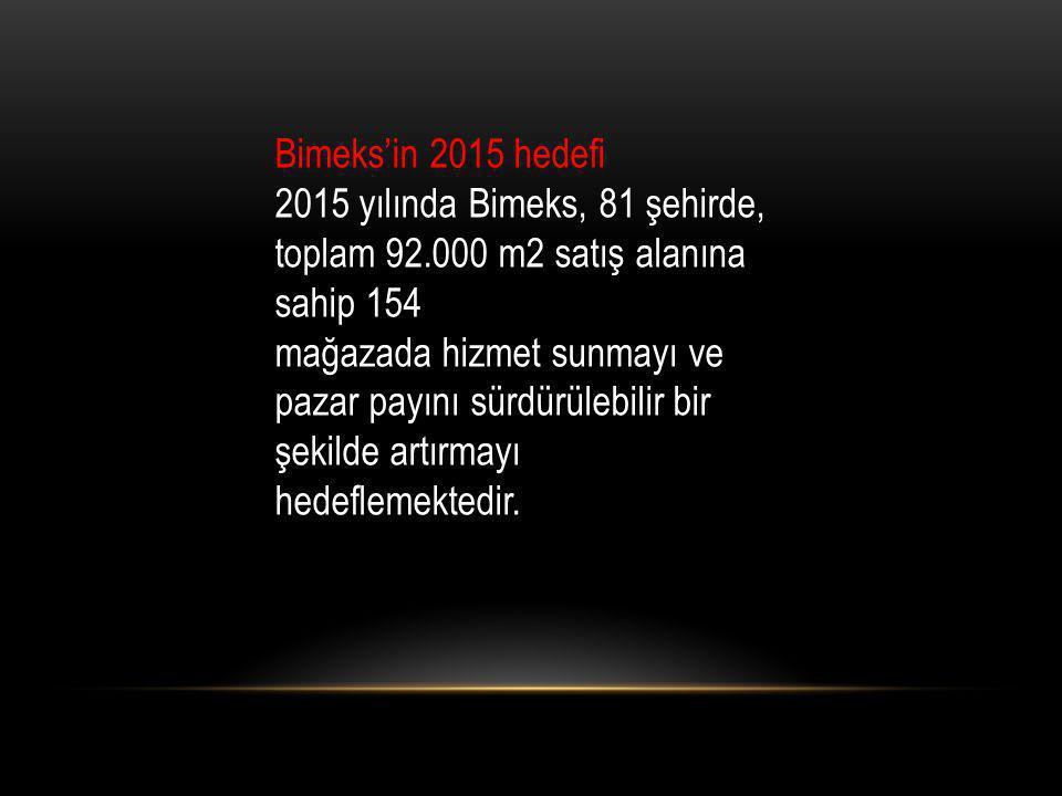Bimeks'in 2015 hedefi 2015 yılında Bimeks, 81 şehirde, toplam 92.000 m2 satış alanına sahip 154.