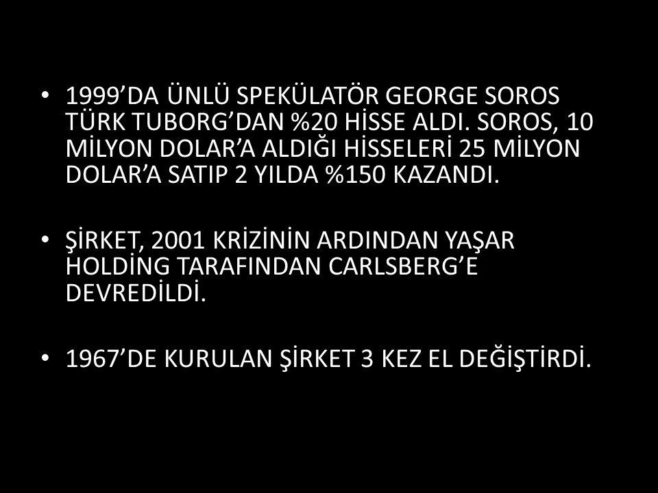 1999'DA ÜNLÜ SPEKÜLATÖR GEORGE SOROS TÜRK TUBORG'DAN %20 HİSSE ALDI