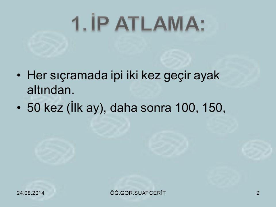 1. İP ATLAMA: Her sıçramada ipi iki kez geçir ayak altından.