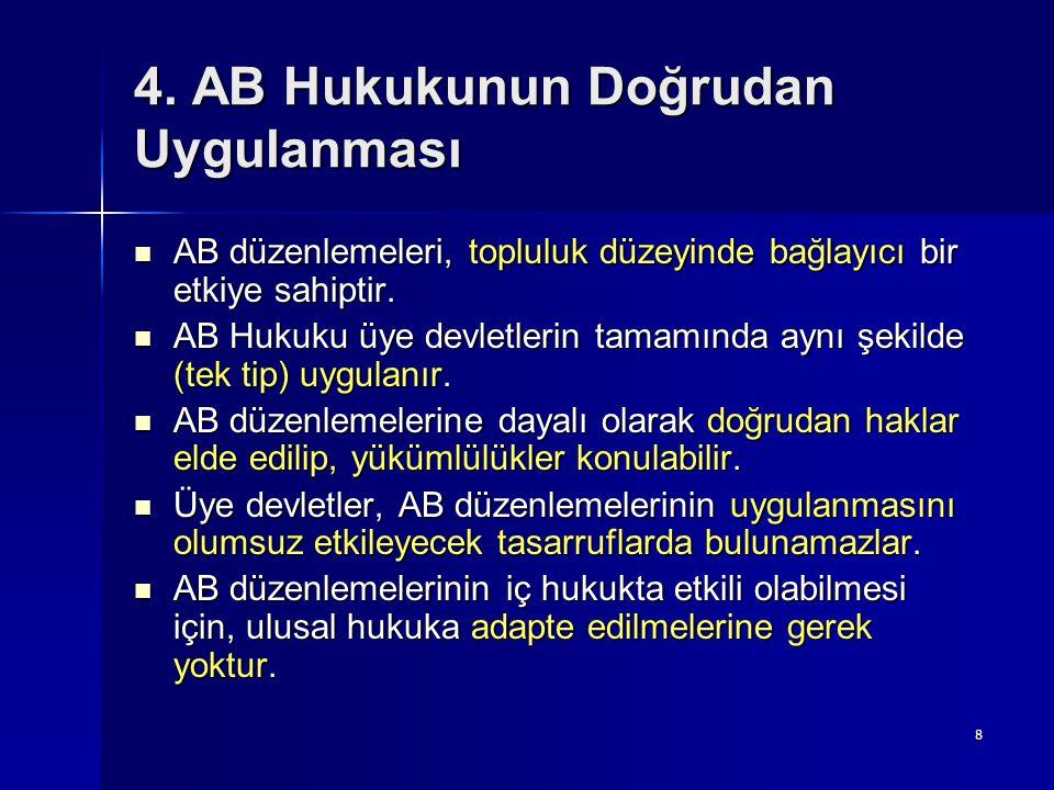4. AB Hukukunun Doğrudan Uygulanması