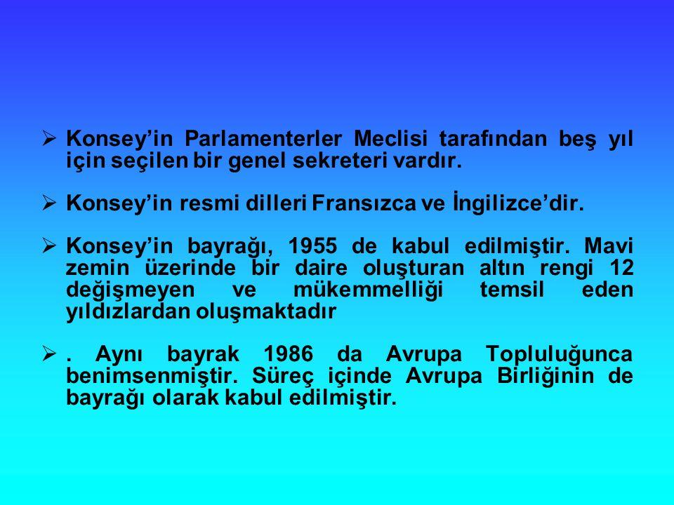 Konsey'in Parlamenterler Meclisi tarafından beş yıl için seçilen bir genel sekreteri vardır.