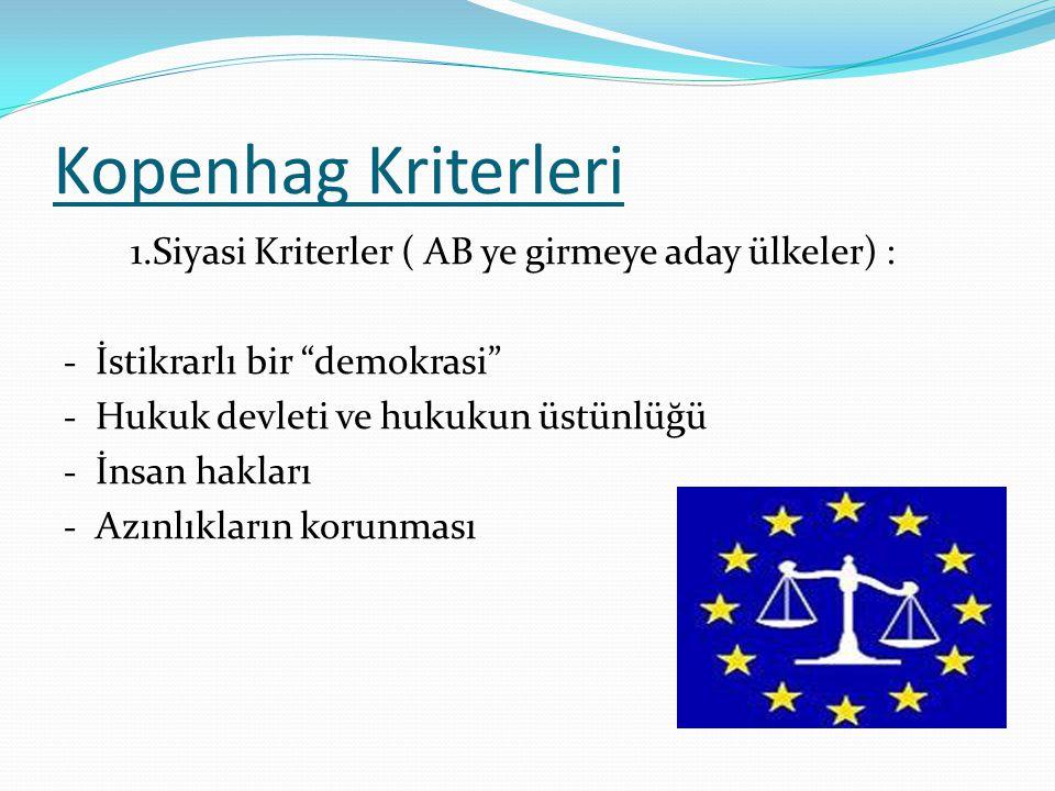 Kopenhag Kriterleri 1.Siyasi Kriterler ( AB ye girmeye aday ülkeler) :